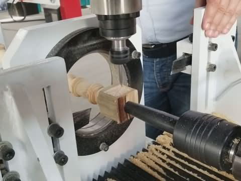 STL2530 CNC wood lathe with 4 axis spindle
