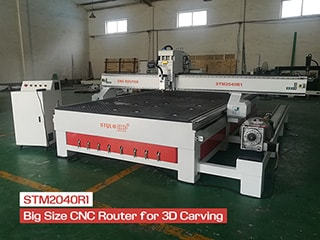 Big size STM2040R1 CNC router with rotary device for 3d carving