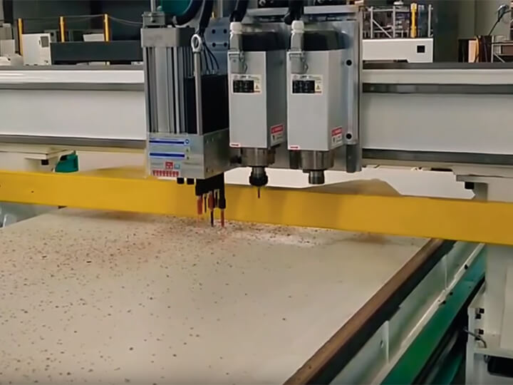 4x8 Nesting CNC Router Machine with Gang Drilling and 2 Spindles for cabinet making