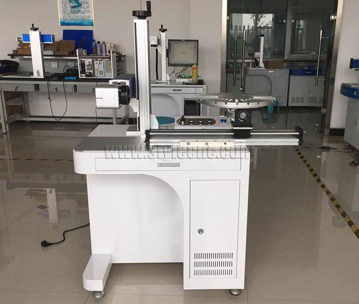 Desktop STJ-20FM fiber laser marking machine with rotary table