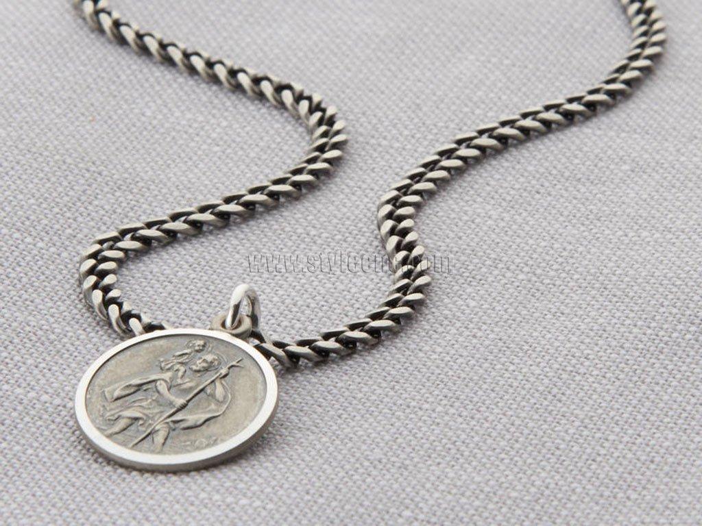 Laser Engraved Sterling Silver Necklace