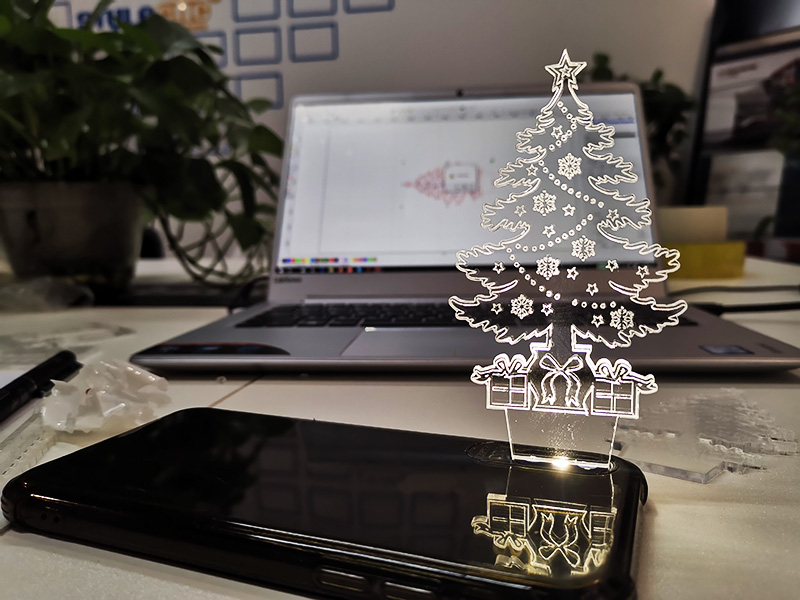 Laser Engraving Cutting 3D Acrylic Christmas Tree