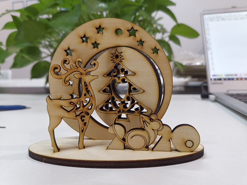 Laser Cutting 3D Wood Christmas Decorations