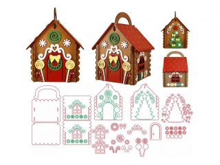 Free Laser Cut 3D Gingerbread House Vector Files