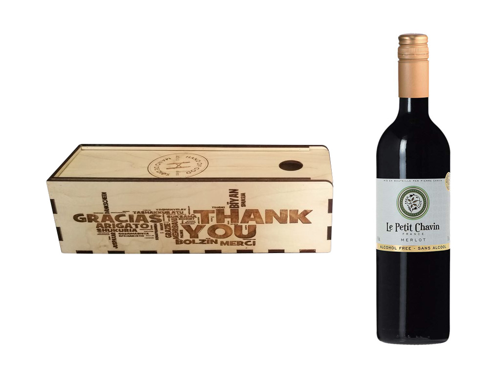 Laser Engraving Cutting Red Wine Box of Plywood