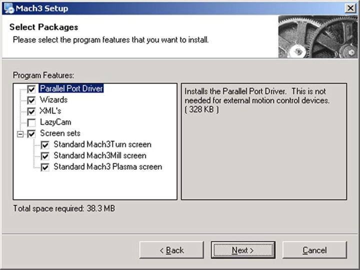 Select Program Components Screen