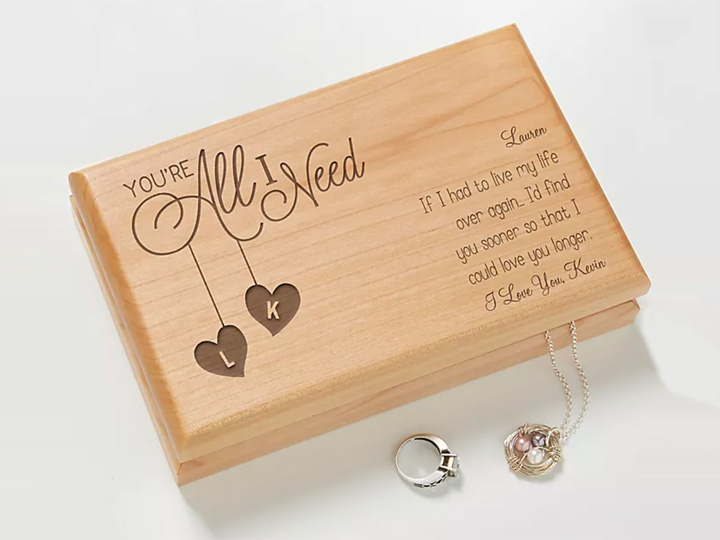 Laser Engraved Jewelry Box with Wood