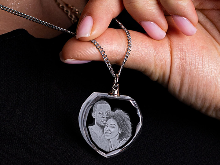 Laser Engraved Personalized Necklace Heart Gift