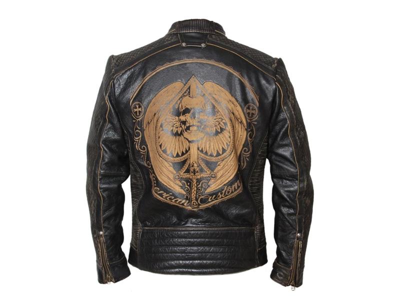 Laser Engraved Leather Motorcycle Jacket