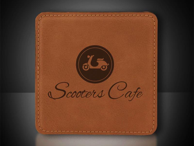 Laser Engraved Leatherette Logo Coaster